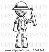 Clip Art of Retro Ranger Guy Holding Dynamite with Fuse Lit by Leo Blanchette