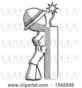 Clip Art of Retro Ranger Guy Leaning Against Dynimate, Large Stick Ready to Blow by Leo Blanchette