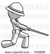 Clip Art of Retro Ranger Guy with Ninja Sword Katana Slicing or Striking Something by Leo Blanchette
