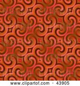 Clip Art of Retro Red Background of Swirls by Arena Creative