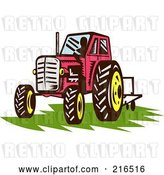 Clip Art of Retro Red Tractor on Grass by Patrimonio