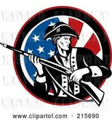 Clip Art of Retro Revolutionary War Soldier Holding a Rifle over an American Flag Circle by Patrimonio