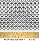 Clip Art of Retro Room with Wooden Floors and Wallpaper by Arena Creative