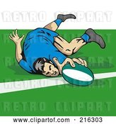 Clip Art of Retro Rugby Football Player - 11 by Patrimonio