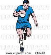Clip Art of Retro Rugby Football Player - 32 by Patrimonio