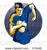 Clip Art of Retro Rugby Football Player - 33 by Patrimonio