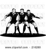 Clip Art of Retro Rugby Football Players in Action - 13 by Patrimonio