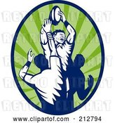 Clip Art of Retro Rugby Lineout Logo by Patrimonio