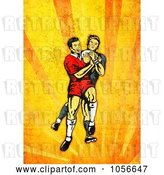 Clip Art of Retro Rugby Player Attacking, on Orange Grunge by Patrimonio