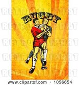 Clip Art of Retro Rugby Player Attacking, on Orange Grunge with Text by Patrimonio