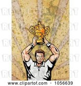Clip Art of Retro Rugby Player Holding a Trophy, on Grunge by Patrimonio