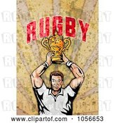 Clip Art of Retro Rugby Player Holding a Trophy, on Grunge with Text by Patrimonio