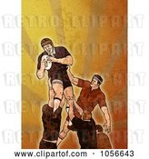 Clip Art of Retro Rugby Player Jumping, on Orange Grunge by Patrimonio