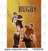 Clip Art of Retro Rugby Player Jumping, on Orange Grunge with Text by Patrimonio