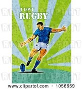 Clip Art of Retro Rugby Player Kicking, on Green Grunge with Text by Patrimonio