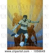 Clip Art of Retro Rugby Player Kicking, on Grunge by Patrimonio
