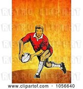 Clip Art of Retro Rugby Player Passing, on Orange Grunge by Patrimonio