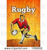 Clip Art of Retro Rugby Player Passing, on Orange Grunge with Text by Patrimonio