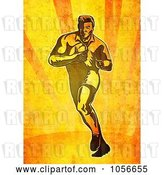 Clip Art of Retro Rugby Player Running on Grungy Orange by Patrimonio