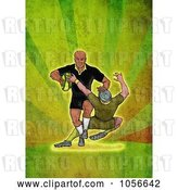 Clip Art of Retro Rugby Player Tackling, on Green Grunge by Patrimonio