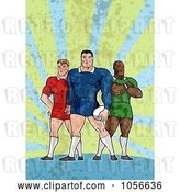 Clip Art of Retro Rugby Players by Patrimonio