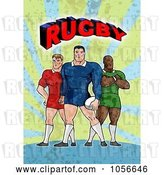 Clip Art of Retro Rugby Players with Text by Patrimonio