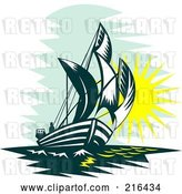 Clip Art of Retro Sailboat at Sea by Patrimonio