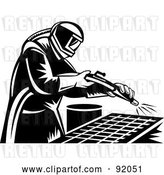 Clip Art of Retro Sand Blaster Guy at Work by Patrimonio