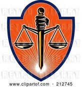 Clip Art of Retro Scales of Justice Logo by Patrimonio
