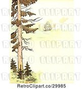 Clip Art of Retro Scene of a Tree and Tall Ship at Sea with Copyspace by Prawny Vintage