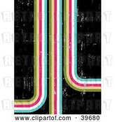 Clip Art of Retro Scratched Grunge Background of Striped Paths Going in Different Directions, on Black by KJ Pargeter