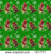 Clip Art of Retro Seamless Background of Robots on Green with Snowflakes by Stockillustrations