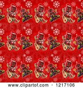 Clip Art of Retro Seamless Background of Robots on Red with Snowflakes by Stockillustrations