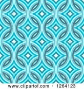 Clip Art of Retro Seamless Blue Diamond Damask Pattern Background by Arena Creative