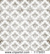Clip Art of Retro Seamless Brown Textured Damask Pattern on White by Arena Creative