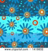 Clip Art of Retro Seamless Pattern Background of 60s Styled Blue Daisy Flowers by Prawny