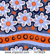 Clip Art of Retro Seamless Pattern Background of 60s Styled Daisy Flowers by Prawny