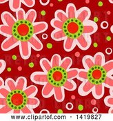 Clip Art of Retro Seamless Pattern Background of 60s Styled Pink Daisy Flowers by Prawny