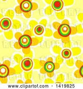 Clip Art of Retro Seamless Pattern Background of 60s Styled Yellow Daisy Flowers by Prawny