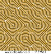 Clip Art of Retro Seamless Yellow Truchet Tile Texture Background Pattern by Ralf61
