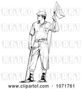 Clip Art of Retro Sketched Male Golfer Holding a Flag by LoopyLand