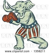 Clip Art of Retro Sketched or Engraved Political Elephant Boxer by Patrimonio