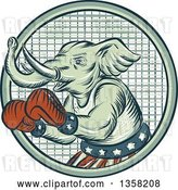 Clip Art of Retro Sketched or Engraved Political Elephant Boxer in a Circle by Patrimonio
