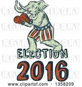 Clip Art of Retro Sketched or Engraved Political Elephant Boxer with Election 2016 Text by Patrimonio