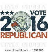 Clip Art of Retro Sketched or Engraved Political Elephant Boxer with Vote Republican 2016 Text by Patrimonio
