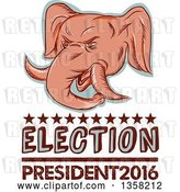 Clip Art of Retro Sketched or Engraved Political Elephant Head with Election President 2016 Text by Patrimonio