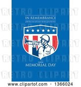 Clip Art of Retro Soldier Blowing a Bugle in an American Shield with in Remembrance of the Brave Men and Women Who Have Given Their Lives, Celebrate Memorial Day Text on Blue by Patrimonio