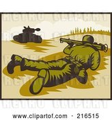 Clip Art of Retro Soldier on the Ground, Pointing a Bazooka at a Tank by Patrimonio