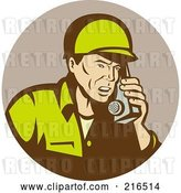 Clip Art of Retro Soldier Using a Radio by Patrimonio
