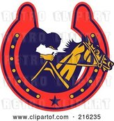 Clip Art of Retro Styled Jockey and Horse in a Horse Shoe by Patrimonio
